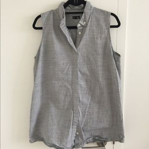 Steven Alan grey sleeveless button down